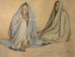 "Francisco Zuniga, Women, Chalk, Pencil, and Watercolor on Paper, 1966, 19"" x 25"""